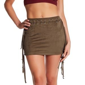 Faux suede lace up fringe mini skirt